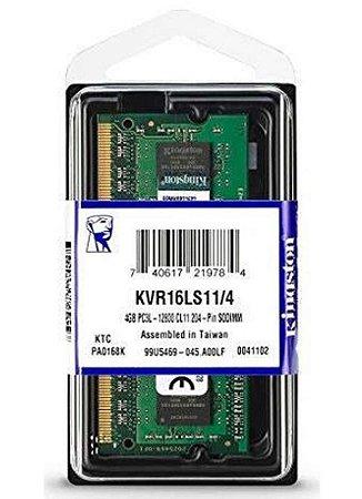 Memória Kingston 4gb 1600mhz Ddr3l P/ Notebook Cl11 - Kvr16ls11/4