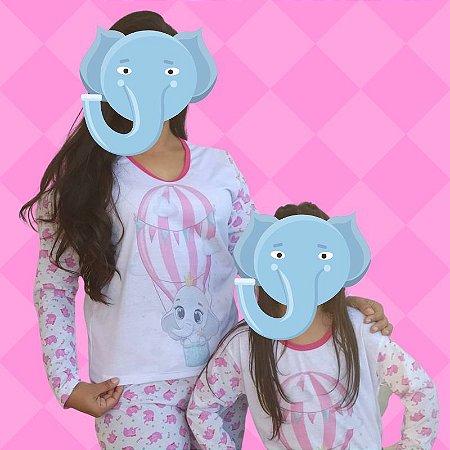 Kit 2 Pijamas Mãe e Filha Elefantes