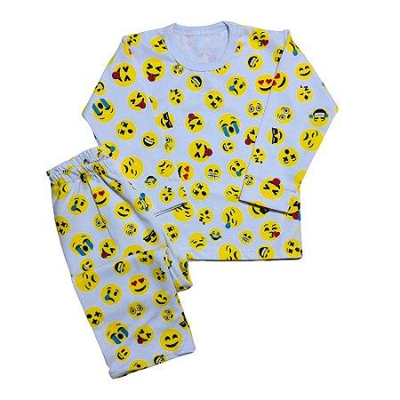 Pijama Moletom Flanela Punho EMOJI