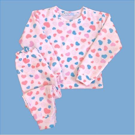 Pijama Infantil Soft Punho CORAÇÕES ROSA