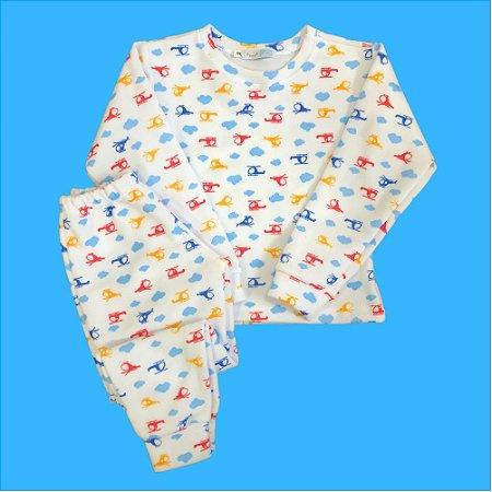 Pijama Infantil Unisoft Punho HELICÓPTEROS