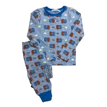 Pijama Infantil Manga Longa SLIM GATINHAS AZUL