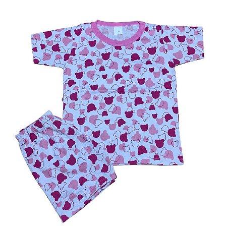 Pijama Infantil 100% Algodão Manga Curta MINNIE