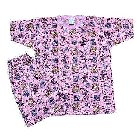 Pijama Infantil 100% Algodão Manga Curta CÂMERAS