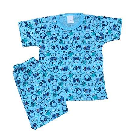 Pijama Infantil 100% Algodão Manga Curta VIDEOGAME AZUL