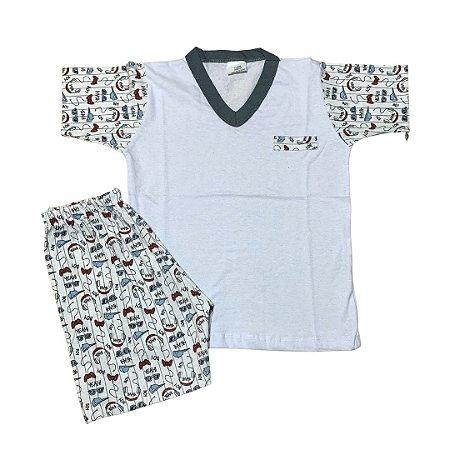 Pijama Infantil 100% Algodão Manga Curta YEAH BOY BOLSO