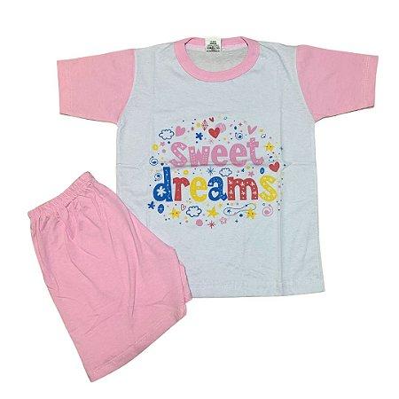 Pijama Infantil 100% Algodão Manga Curta SWEET DREAMS
