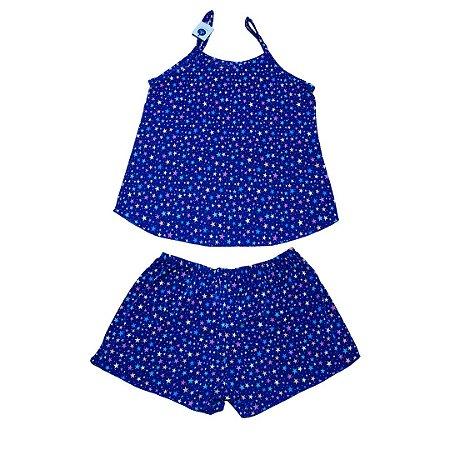 Short Doll Feminino Malha Estrelas Azul