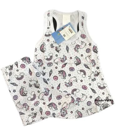 Pijama Infantil 100% Algodão Short Doll UNICÓRNIOS