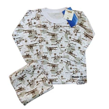 Pijama Infantil 100% Algodão AVIÕES