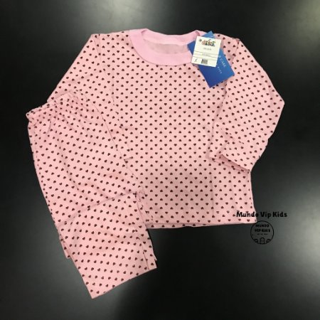 Pijama Infantil 100% Algodão POÁ CORAÇÕES