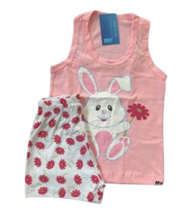 Pijama Infantil 100% Algodão Regata Coelinho