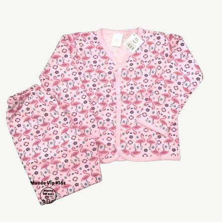Pijama Flanela Botões FLAMINGOS