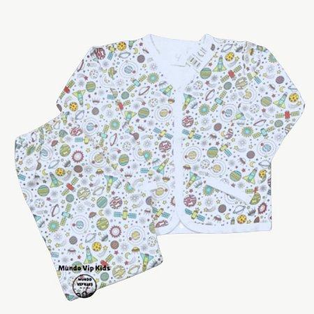 Pijama Flanela Botões ESPAÇO