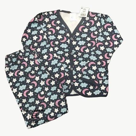 Pijama Flanela Botões CÉU