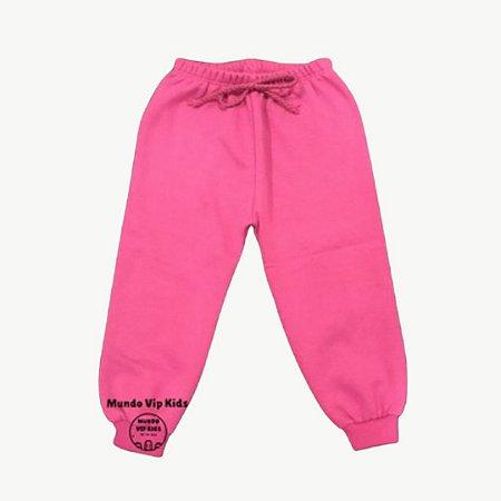 Calça Moletom Flanelada Punho Pink