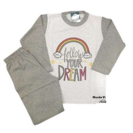 Pijama Infantil 100% Algodão FOLLOW YOUR DREAMS