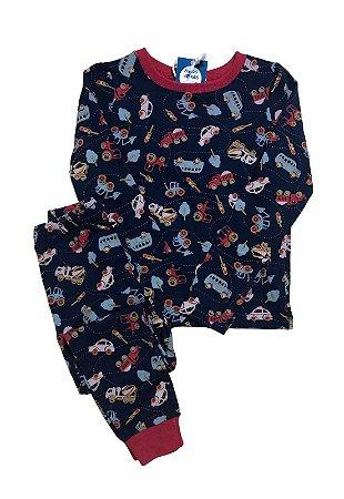 Pijama Infantil SLIM Carrinhos Marinho Manga Longa