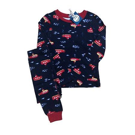 Pijama Infantil SLIM Submarinos Marinho Manga Longa