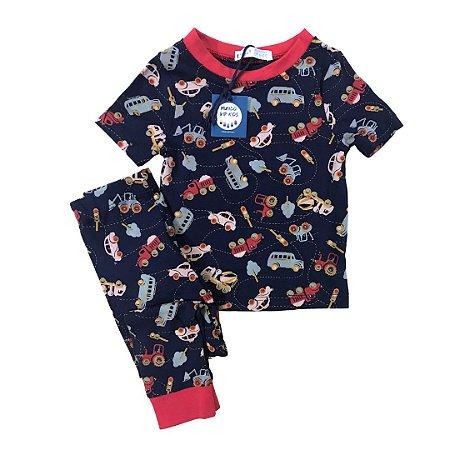 Pijama Infantil SLIM Carrinhos Marinho Manga Curta