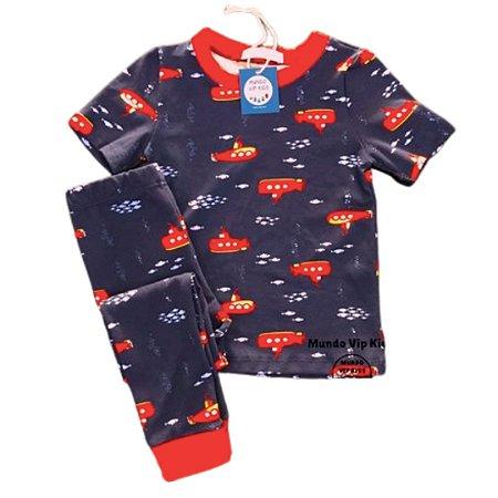 Pijama Infantil SLIM Submarinos Marinho Manga Curta