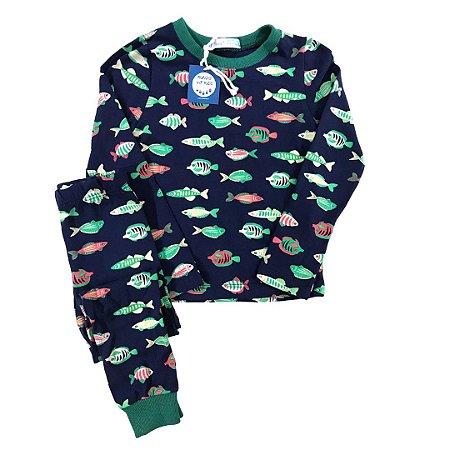 Pijama Infantil SLIM Peixes Marinho Manga Curta