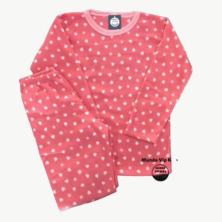 Pijama Infantil Soft ESTRELAS CORAÇÕES ROSE