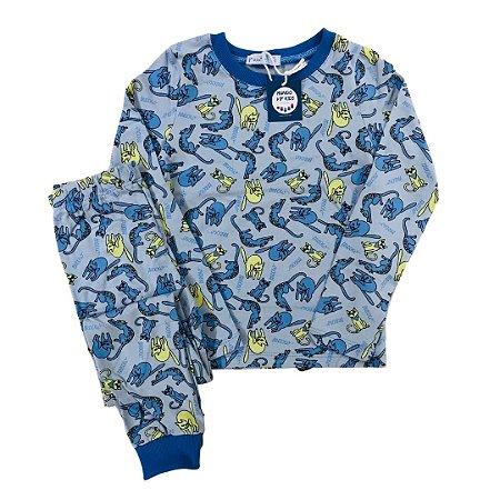 Pijama Infantil SLIM Gatos Azul Manga Longa