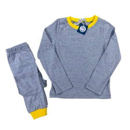 Pijama Infantil SLIM Cinza Mescla Amarelo Manga Longa