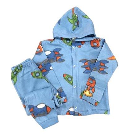 Pijama Infantil SOFT Capuz Punho FOGUETES