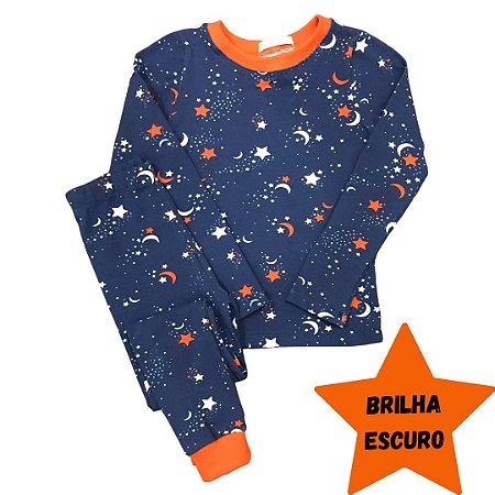 Pijama Infantil SLIM BRILHA ESCURO Estrelas Marinho Longo