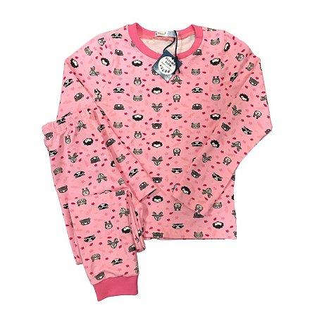 Pijama Infantil SLIM Floresta Rosa Manga Longa