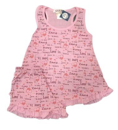 Pijama Infantil 100% Algodão Short Doll LOVE YOU