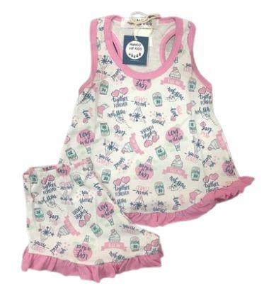 Pijama Infantil 100% Algodão Short Doll  TOGETHER FOREVER