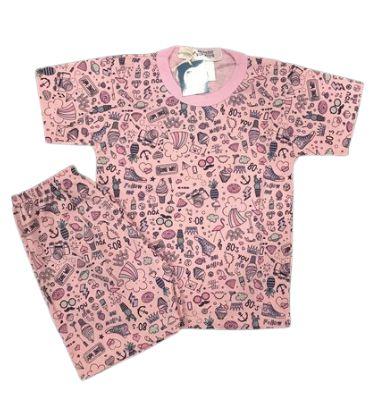 Pijama Infantil 100% Algodão Maga Curta FOLLOW ME