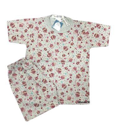 Pijama Infantil 100% Algodão Manga Curta CUPCAKES