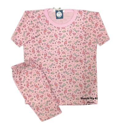 Pijama Infantil 100% Algodão Manga Curta DINOS PRINCESS