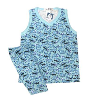 Pijama Infantil 100% Algodão Regata SHARK
