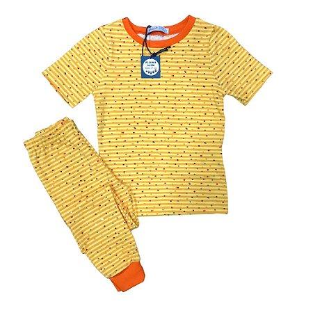 Pijama Infantil SLIM POÁ AMARELO LARANJA CURTA
