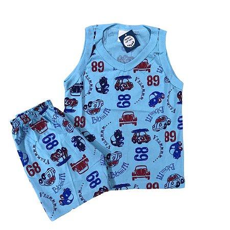 Pijama Infantil 100% Algodão Regata FUSCA