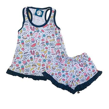 Pijama Infantil 100% Algodão Short Doll GO GIRL