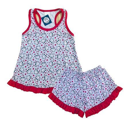 Pijama Infantil 100% Algodão Short Doll URSINHOS VERMELHO