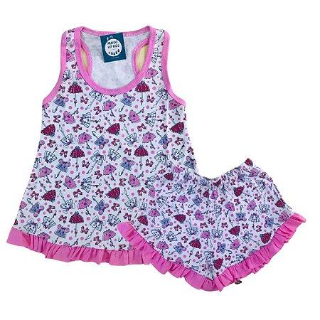 Pijama Infantil 100% Algodão Short Doll GUARDA CHUVAS