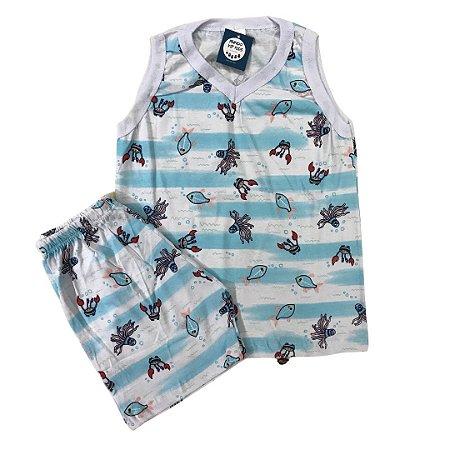 Pijama Infantil 100% Algodão Regata FUNDO MAR