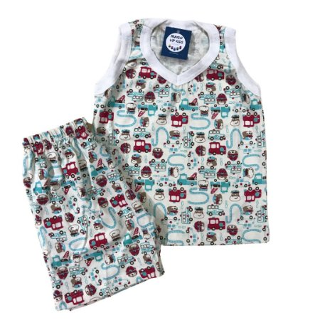 Pijama Infantil 100% Algodão Regata BOMBEIRO