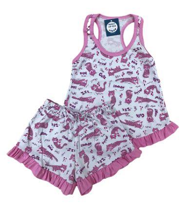 Pijama Infantil 100% Algodão Short Doll Gatinhos Cute