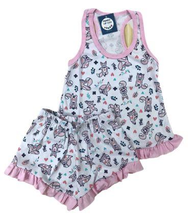 Pijama Infantil 100% Algodão Short Doll RAPOSINHAS