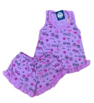 Pijama Infantil 100% Algodão Short Doll LIFE IN PINK