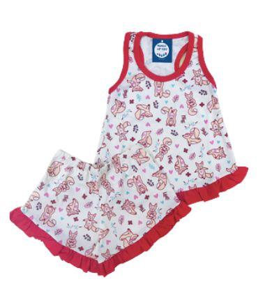 Pijama Infantil 100% Algodão Short Doll RAPOSINHA