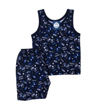 Pijama Infantil 100% Algodão Regata PLAY AGAIN